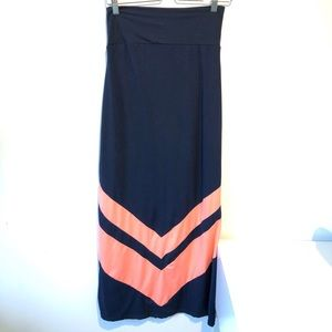 2/22$ Ardene | navy and orange maxi skirt